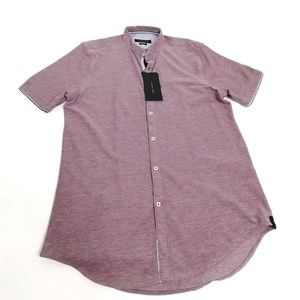 Zara Man Slim Fit Button Down Shirt Large Burgundy